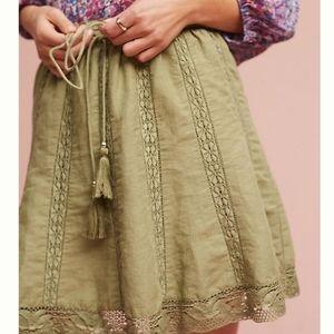 Anthropologie Linen Eze Sur Mer Skirt